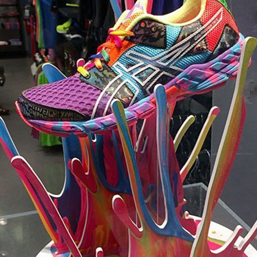 Colorful Asics running shoe